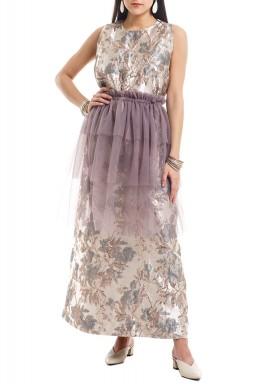 Purple Shimmery Patterned Sleeveless Kaftan