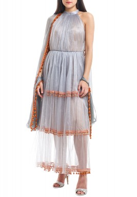 Silver & Orange Shimmery Layered Kaftan