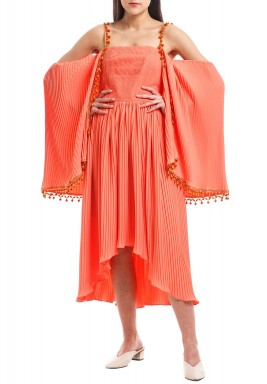 Orange Pleated Cold Shoulders Kaftan
