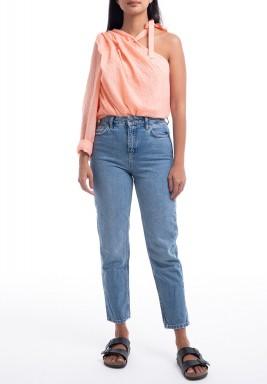 Peach One Shoulder Strap Neck Top