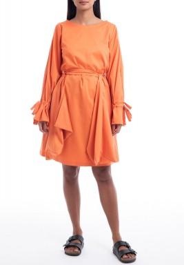 Orange Belted Pockets Knee-Length Dress