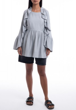 Baby Blue Ruffled Long Sleeves Shirt