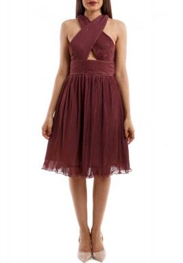 Maroon Pleated X Design Dress
