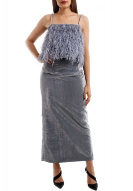 Grey Feather Top with a Silver Skirt