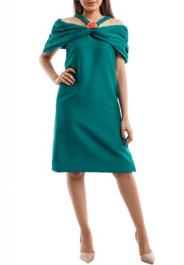 Green Cold Shoulders Pleated Dress