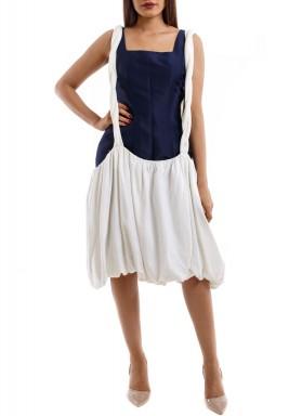 Navy & White Braided Gown