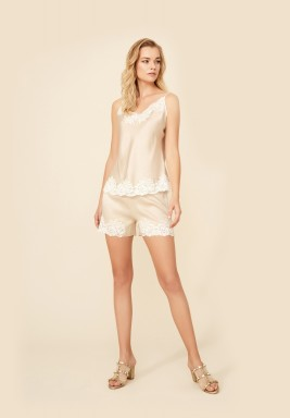 Beige Camisole And Short Set