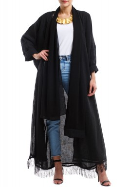 Black Fringe Abaya