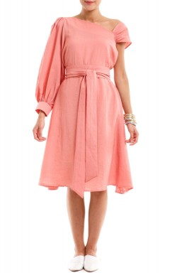 Pink Pleated Belted Dress