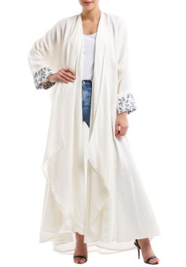 Off-White Embroidered Linen Abaya
