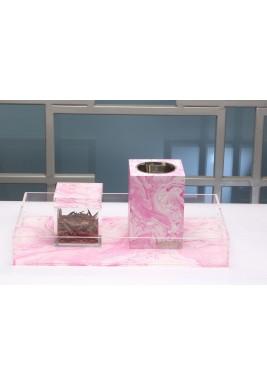 Pink Marble Mubkhar Set