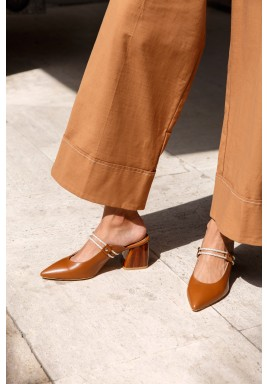 Sofana Brown Pointed-Toe Mules