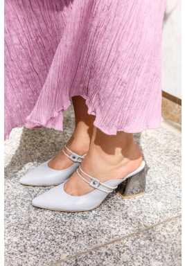 Sofana Grey Pointed-Toe Mules
