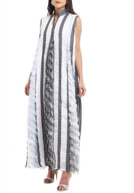 Black & White Striped Feathers Kaftan