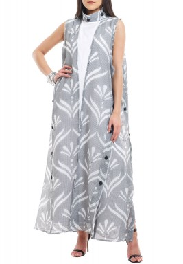 Grey Patterned Two Layered Kaftan
