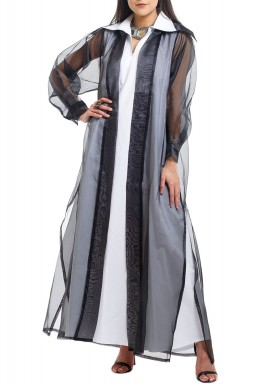 Black Organza Bisht With White Kaftan Set