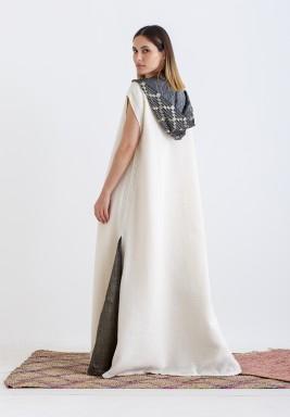 Off-White Patterned Hooded Kaftan