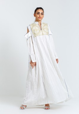 White Embroidered Cold-Shoulders Kaftan