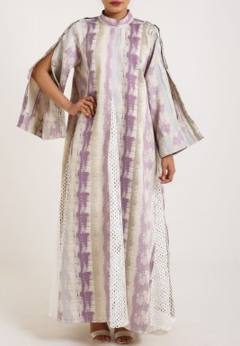 Purple & Off White Buttoned Sleeves Dress