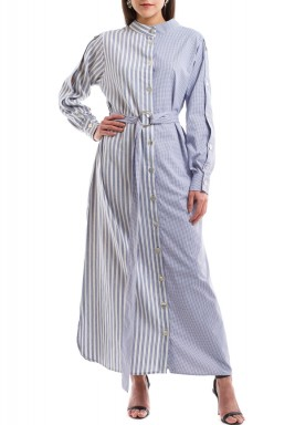 Blue Half Striped Half Checked Dress