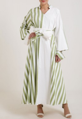Green & White Striped Belted Dress
