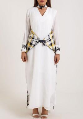 Checkered wrapped waist Kaftan