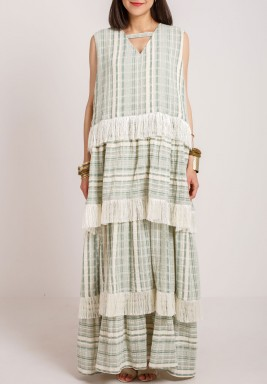Green Striped Layered Dress