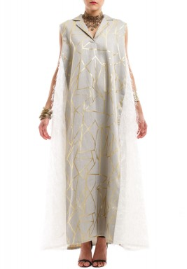 Grey & Gold Feathered Kaftan