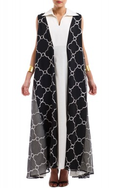 Black & White Patterned Kaftan