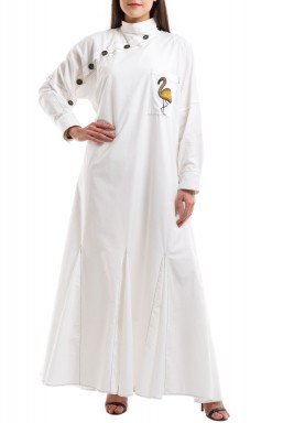 White Bird Embroidery Pleated Kaftan
