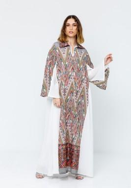 White & Multicolor Embroidery Kaftan