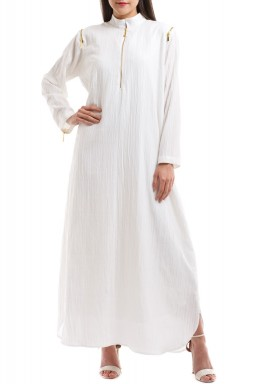 White Golden Zippers Kaftan