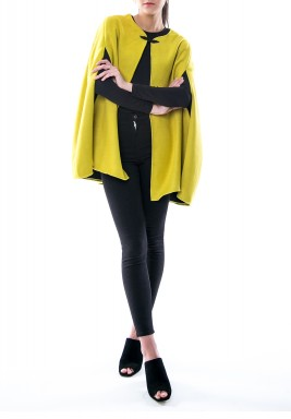 Yellow Wool Back Detailed Cape