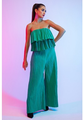 Green Cocktail Double Layered Pleated Top