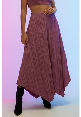 Pink Wide-Legged Pleated Asymmetric Pants