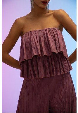 Pink Cocktail Double Layered Pleated Top