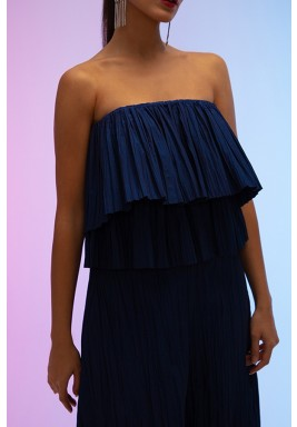 Navy Cocktail Double-Layered Pleated Top