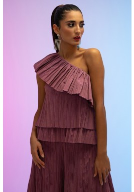 Pink One Shoulder Pleated Collar Top