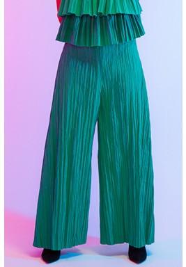 Green Pleated Wide Legged Pants
