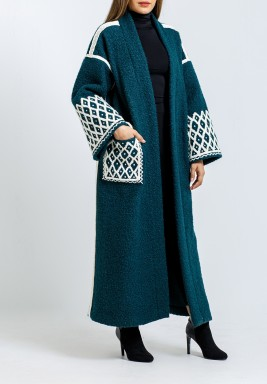 Teal Embroidered Belted Bisht