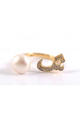 SHEEN 18-karat Gold, pearl and diamonds Ring