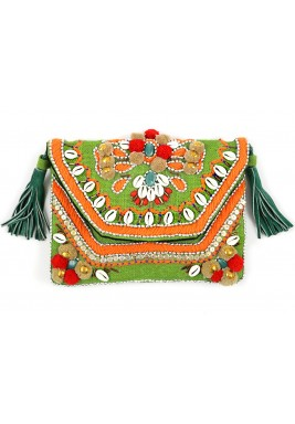Papakōlea Beach Green Embellished Bag