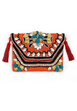 Alabama Coast Beach Orange Embellished Bag