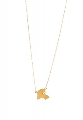 Kuwait Map Necklace yellow Gold