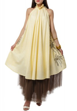 Yellow Palm Tree Kaftan