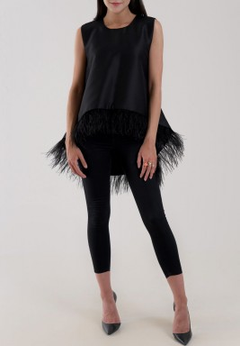 Black Feather Sleeveless Top