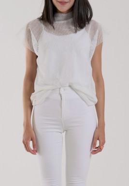 White Net Short Sleeves Top