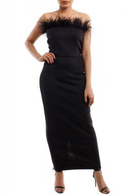 Black Sleeveless Feather Gown