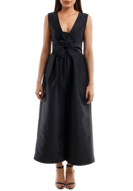 Black Bow Sleeveless Jumpsuit