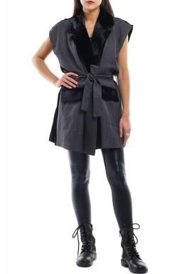 Grey oversized velvet blazer
